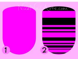 nagels roze met zwarte streepjes