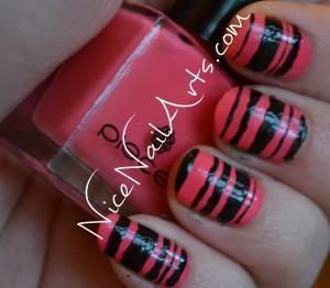 roze-zwart nail art