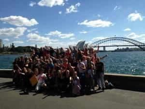 Groepsfoto op dag 1 in Sydney! We zijn hier net een paar uur uit het vliegtuig..