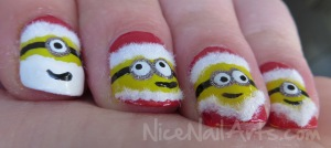 Christmas minion nail art kerst