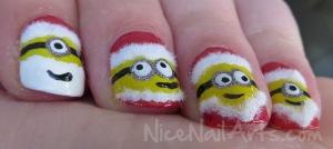Christmas minion nail art kerst